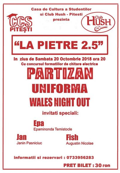 Concert La Pietre 2.5 în Club Hush