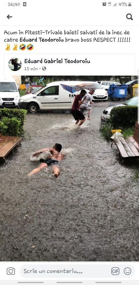 înot în trivale în fața blocului